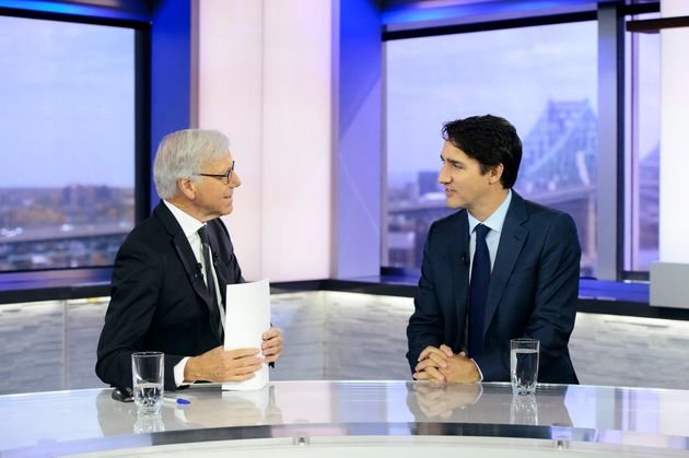 Justin Trudeau with TVA news anchor Pierre Bruneau in Montreal on Oct. 16,