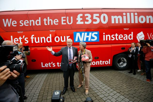 Boris Johnson speaks at the launch of the Vote Leave bus campaign in Truro, England, in May