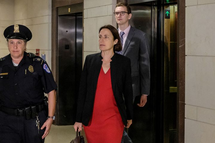 Fiona Hill, a former White House foreign policy adviser, arrives on Capitol Hill on Oct. 14, 2019, to testify before House im