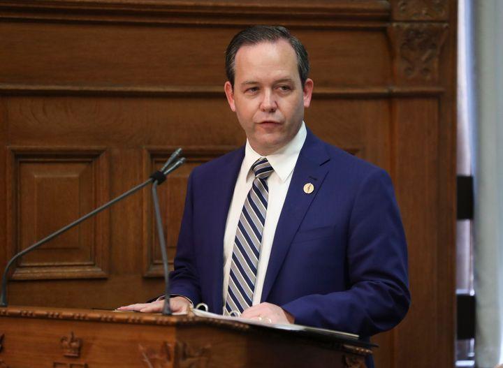 Doug Downey is sworn in as Ontario Attorney General in Toronto on June 20, 2019.