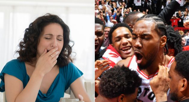What do these two have in common? Both ex-Raptors member Kawhi Leonard and a yawning mom are probably members of the sleep deprivation club.