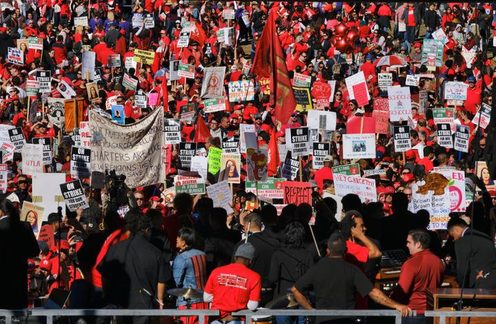 Thousands of striking Los Angeles Unified teachers gather in front of Los Angeles City Hall on Jan. 22.