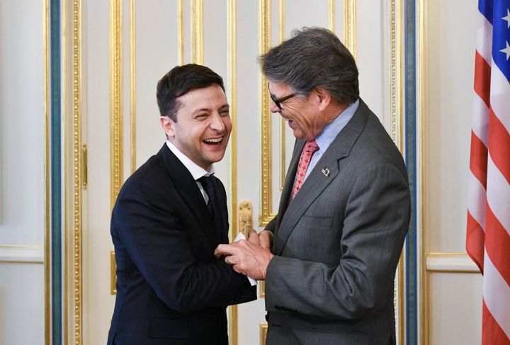 Ukrainian President Volodymyr Zelensky, left, and U.S. Energy Secretary Rick Perry at their May 20 meeting in Kyiv, Ukraine.