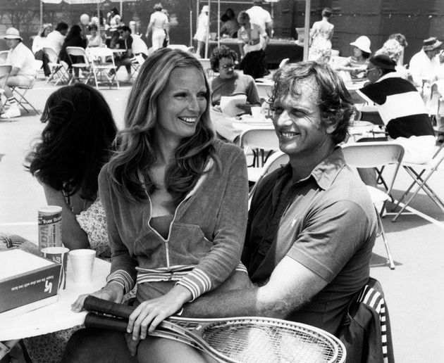 Ron Ely and wife Valerie Lundeen pictured in 1977 at Billy Jean King Tennis Stadium at Forest Hills in...