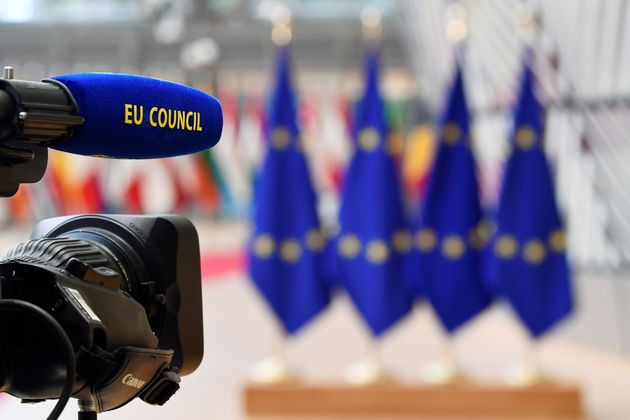 EU Council broadcast camera is seen ahead of the European Union leaders summit in Brussels, Belgium October...
