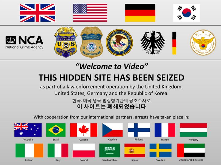 The message posted on the Welcome to Video website after it was seized by authorities.