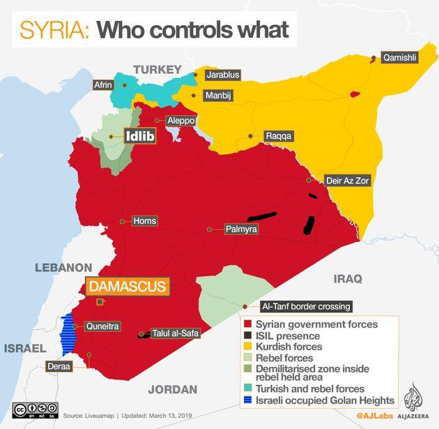 シリアの各勢力の支配地域。赤がアサド政権。黄色がクルド人勢力。黒がIS。