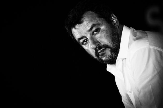 (Image has been converted to black and white) Lega Nord political party leader Matteo Salvini takes part...