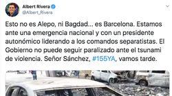 Críticas a Albert Rivera por comparar la quema de coches en Barcelona con Siria e
