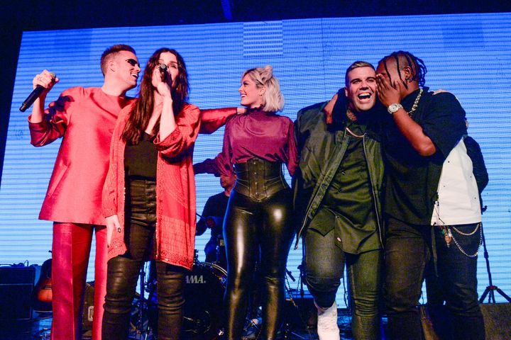 From left: Justin Tranter, Idina Menzel, Bebe Rexha, Jesse Saint John and Jozzy take the stage at BEYOND Spirit Day concert 2