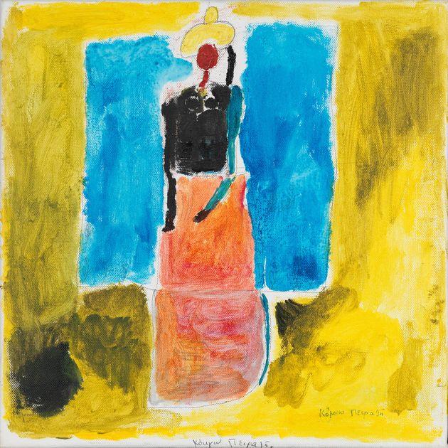 Κόμνω Πειραλή, Κοπέλα, τέμπερα σε καμβά, 40 Χ 40