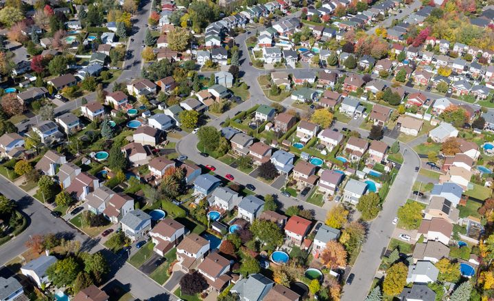 Aerial view over a suburban residential area in Montreal.