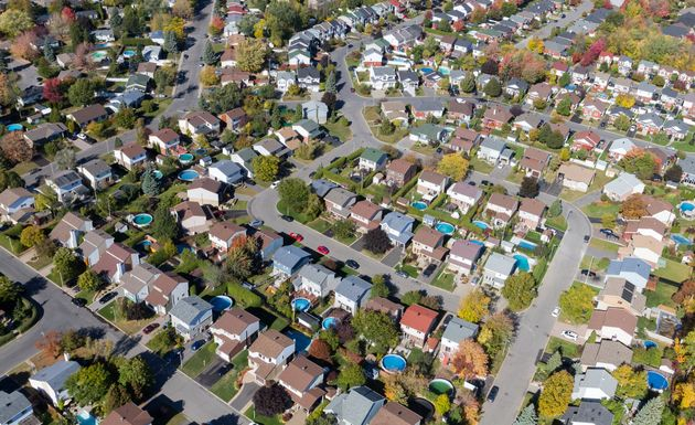 Aerial view over a suburban residential area in