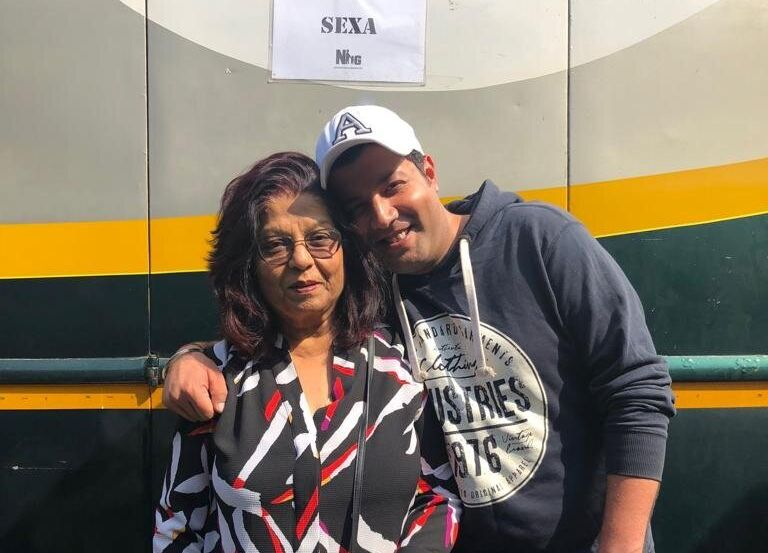 Varun Sharma with his mother.