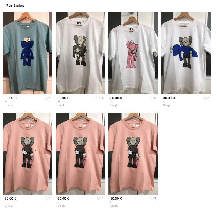 Camisetas de Kaws vendidas por Julián a través de Vinted.