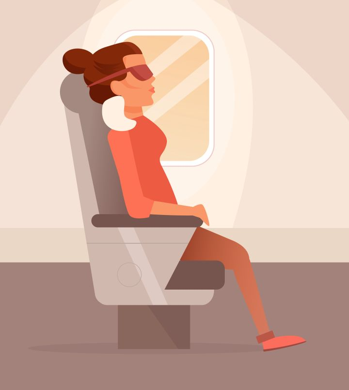 Woman sleeping on a plane. Sleep mask Vector. Cartoon. Isolated art