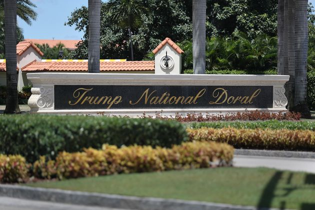 DORAL, FLORIDA - AUGUST 27: A Trump National Doral sign is seen at the golf resort owned by U.S. President...