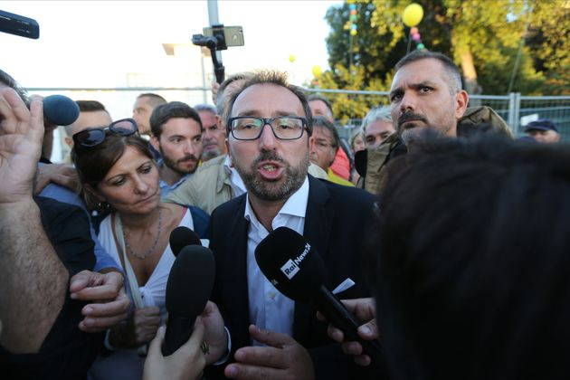 NAPOLI, ITALY - 2019/10/12: The politician Alfonso Bonafede, of the 5 Star Movement, talking with journalists...