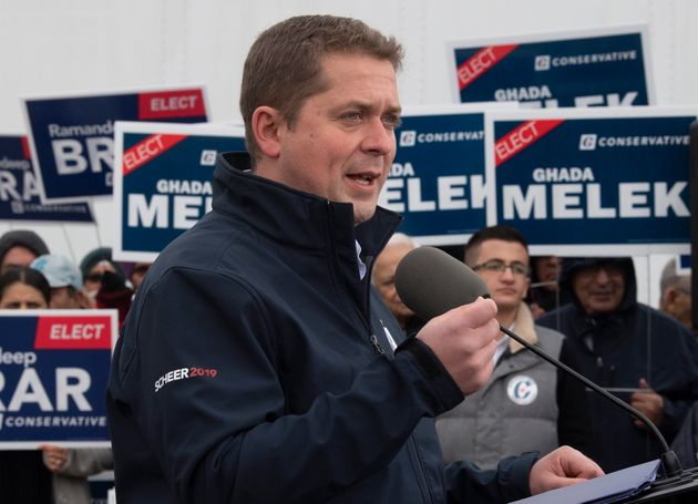 Conservative Leader Andrew Scheer speaks during a campaign stop in Brampton, Ont., on Oct. 17,