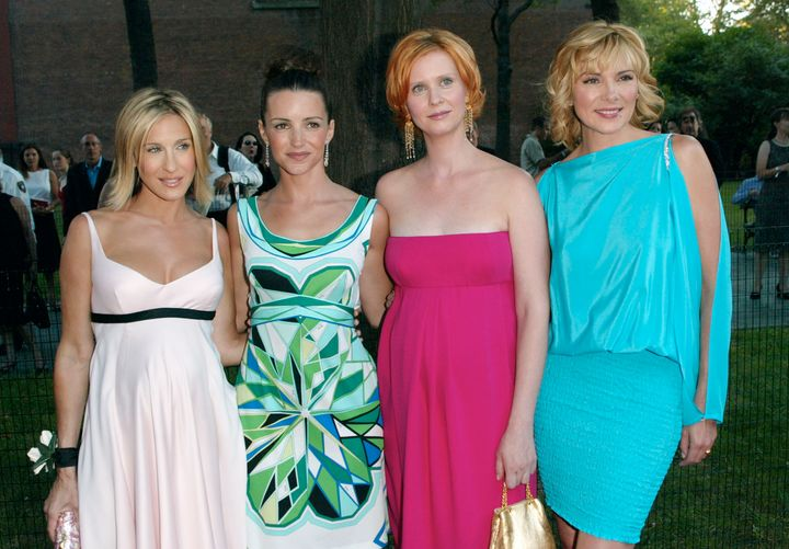 """The stars of """"Sex and the City"""" — Sarah Jessica Parker, Kristin Davis, Cynthia Nixon and Kim Cattrall — arrive at the world premiere of its fifth season in 2002."""