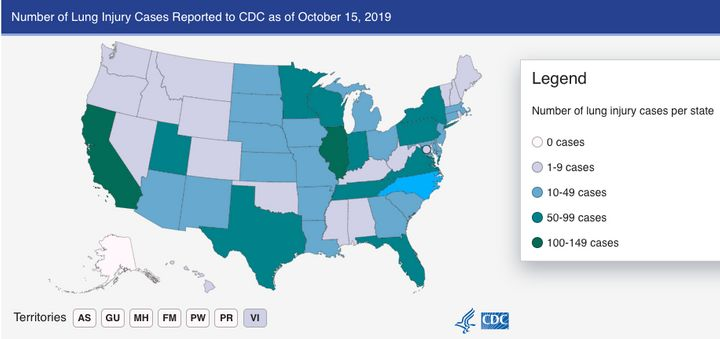 As of this week, all U.S. states except for Alaska have reported vaping-related illnesses.