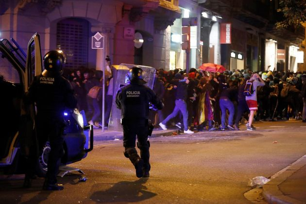 Los Mossos, durante los disturbios la pasada