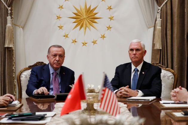 Vice President Mike Pence meets with Turkish President Recep Tayyip Erdogan at the Presidential Palace...