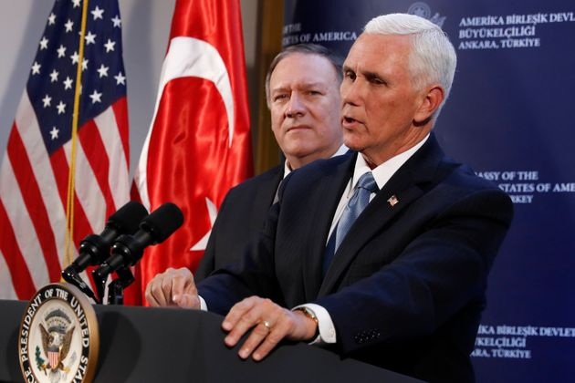 Vice President Mike Pence and Secretary of State Mike Pompeo hold a news conference at the Ambassador's...