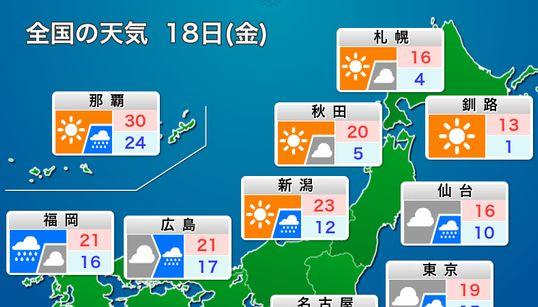 10月18日(金)の天気