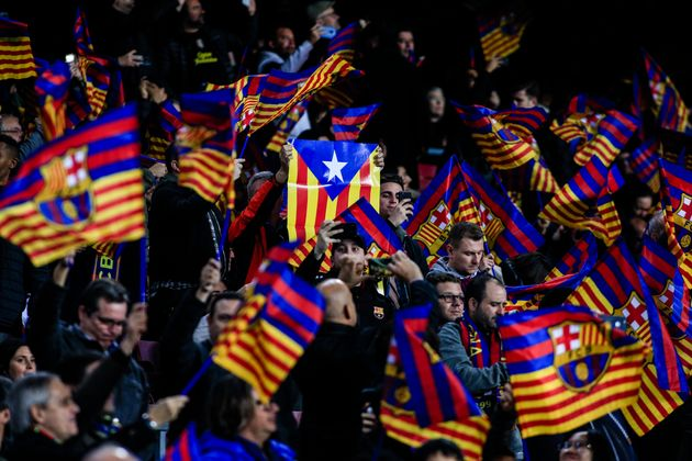 Catalan independence flags during the semi-final first leg of Spanish King Cup / Copa del Rey football...