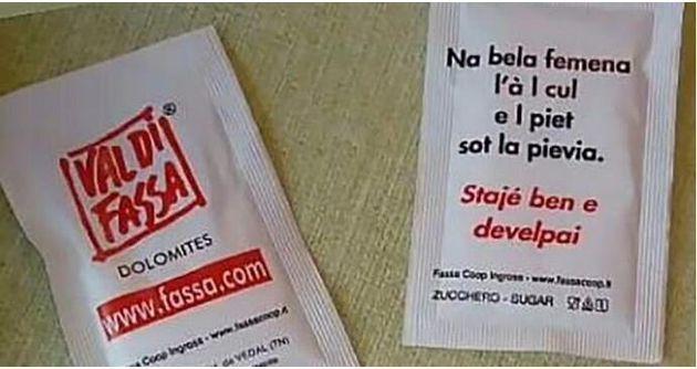 """Il proverbio ladino utilizzato sulle bustine di zucchero fa discutere: """"È sessista"""""""
