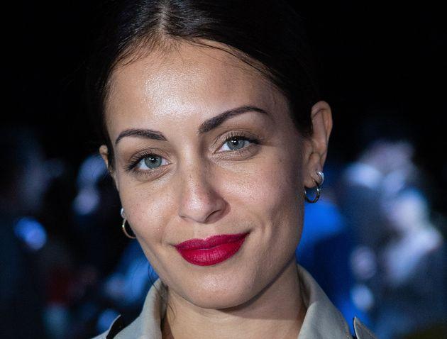 La actriz Hiba Abouk, en el desfile de Juan Vidal en la Mercedes Benz Fashion Week Autumn/Winter 2019-2020...