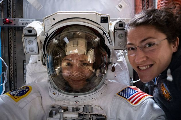Nasa astronauts Jessica Meir (left) and Christina Koch prepare on the International Space Station for...