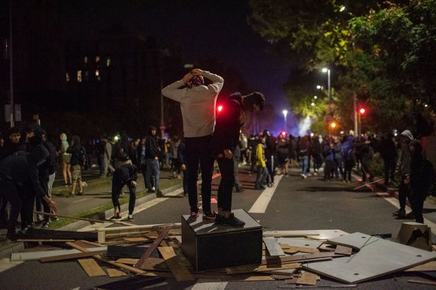 Demonstration and riots in Barcelona, Spain on October 16, 2019 after the judgment to jail nine Catalan...