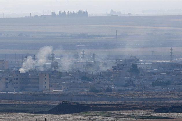 La ville de Ras al-Ain en Syrie, une semaine après le début de l'offensive menée par la Turquie contre...