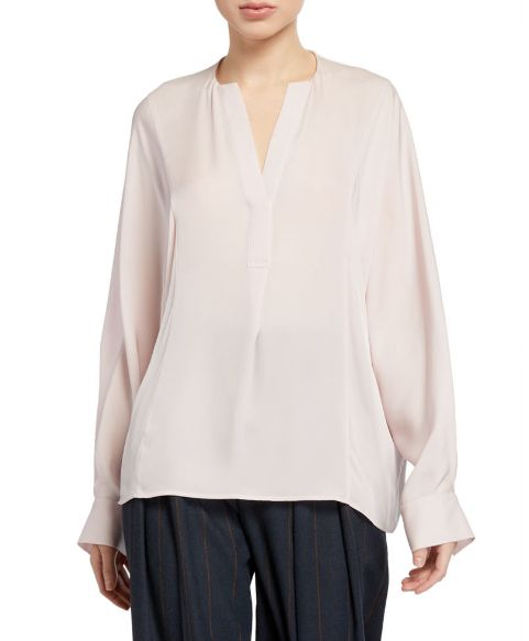 "<a href=""https://www.neimanmarcus.com/p/vince-half-placket-long-sleeve-silk-blouse-prod221390233?childItemId=NMTYW8X_"" target=""_blank"" rel=""noopener noreferrer"">Vince,&nbsp;Half-Placket Long-Sleeve Silk Blouse, $325</a>"