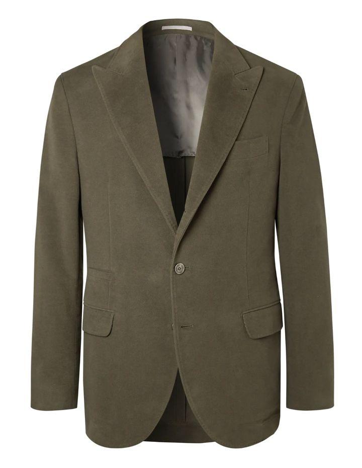 "<a href=""https://www.mrporter.com/en-us/mens/product/brunello-cucinelli/suit-jackets/dark-sage-unstructured-cotton-and-cashmere-blend-suit-jacket/5983760397903491?cm_mmc=Google-ProductSearch-US--c-_-MRP_EN_US_PLA-_-MRP+-+US+-+GS+-+Designer+-+Class_Clothing%C2%A0-+Type_Tuxedos+%26+Suits+-%C2%A0Medium%C2%A0-%C2%A0BT--Suits+-+Jackets_AM&gclid=Cj0KCQjw_5rtBRDxARIsAJfxvYAwpc3n8h2qL-HqcN6yBwiicFqk-BvRCV4Z9Ufu-oAOgBIFLyIRZiwaAkBcEALw_wcB&gclsrc=aw.ds"" target=""_blank"" role=""link"" data-ylk=""subsec:paragraph;itc:0;cpos:__RAPID_INDEX__;pos:__RAPID_SUBINDEX__;elm:context_link"">Brunello Cucinelli, Dark-Sage Unstructured Cotton and Cashmere-Blend Suit Jacket, $3,995</a>"