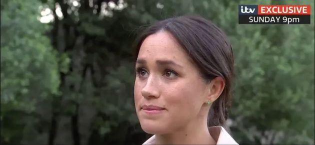 The Duchess of Sussex appears close to tears in the upcoming interview, which airs this Sunday on