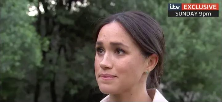 The Duchess of Sussex appears close to tears in the upcoming interview, which airs this Sunday on ITV.