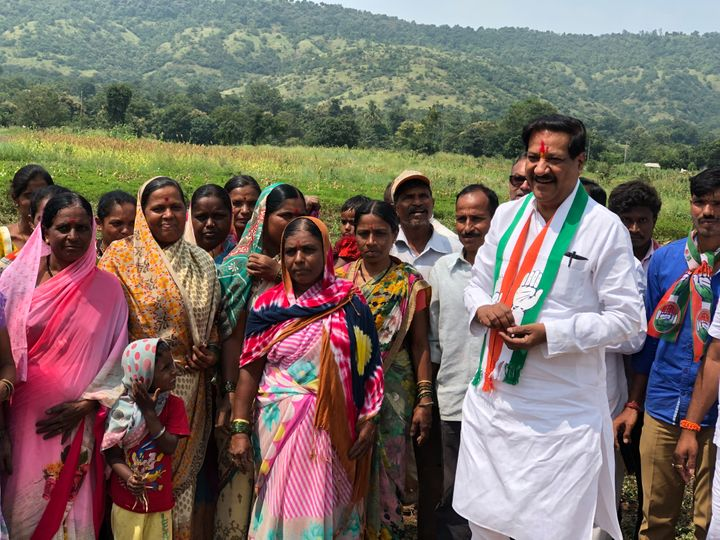 Former Maharashtra CM Prithviraj Chavan during the campaign in his constituency Karad in western Maharashtra.