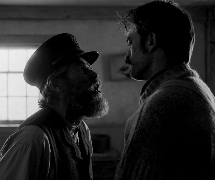 "Dafoe and Pattinson in ""The Lighthouse."""