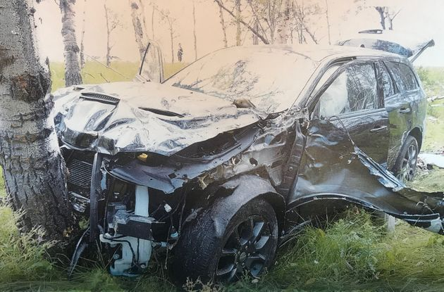 The black SUV driven by German tourist Horst Stewin crashed into trees after the man was shot on an Alberta highway in 2018.