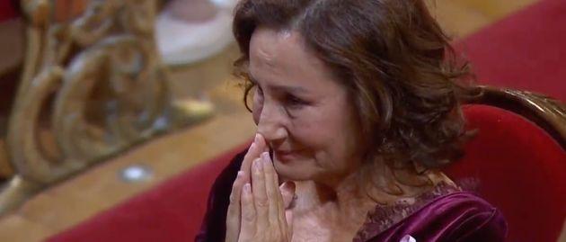 Paloma Rocasolano durante el discurso de