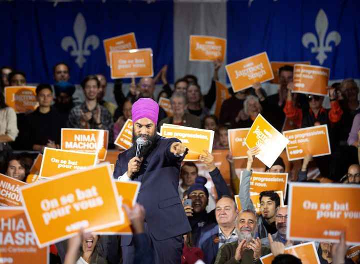 New Democratic Party Leader Jagmeet Singh gestures during an election campaign rally in Montreal on Oct. 16, 2019.