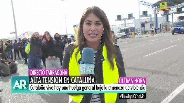 Reportera de Ana Rosa en pleno directo desde