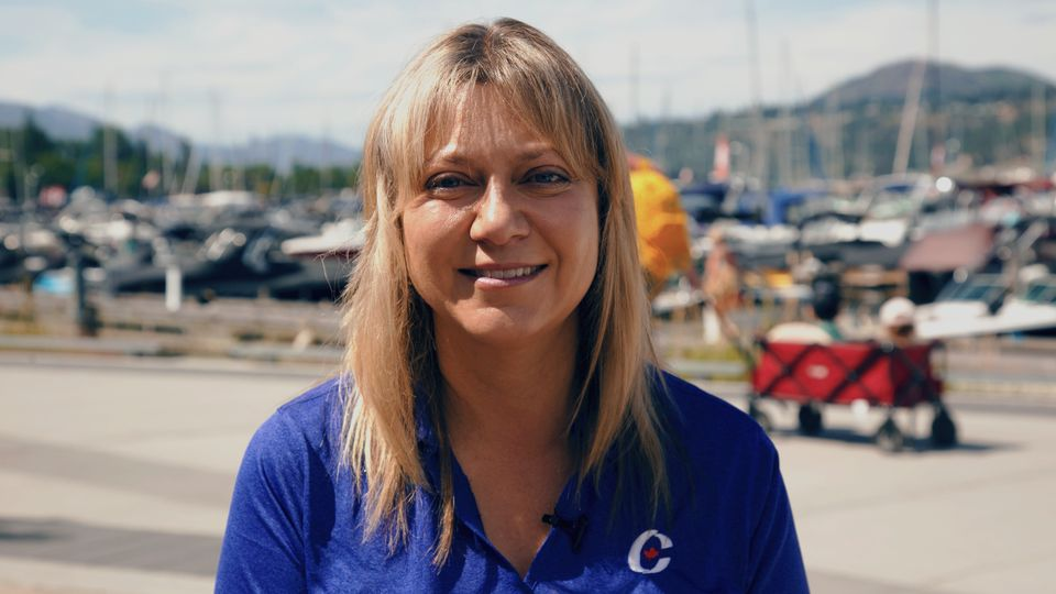 Conservative candidate Tracy Gray is shown in Kelowna on July 13,