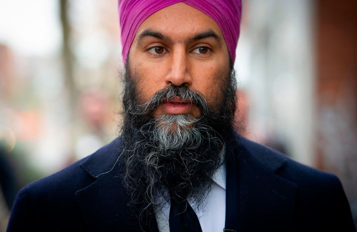 NDP Leader Jagmeet Singh looks on while mainstreeting in the Montreal riding of Hochelaga on Oct. 16, 2019.