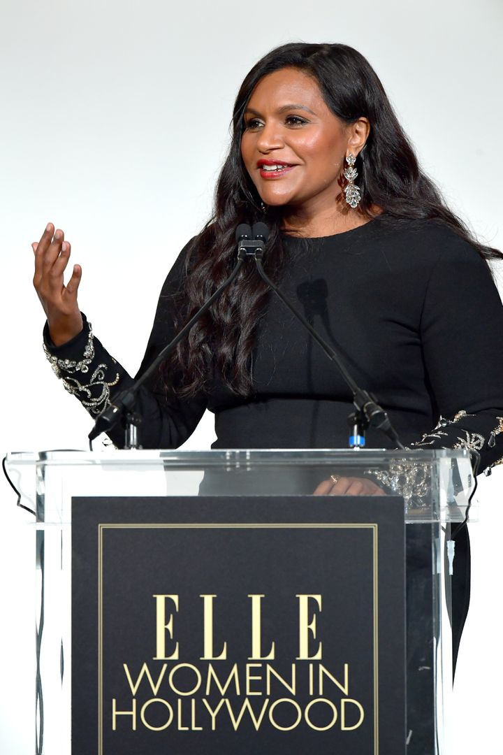 Mindy Kaling speaks onstage during Elle's 26th Annual Women In Hollywood Celebration on Monday.