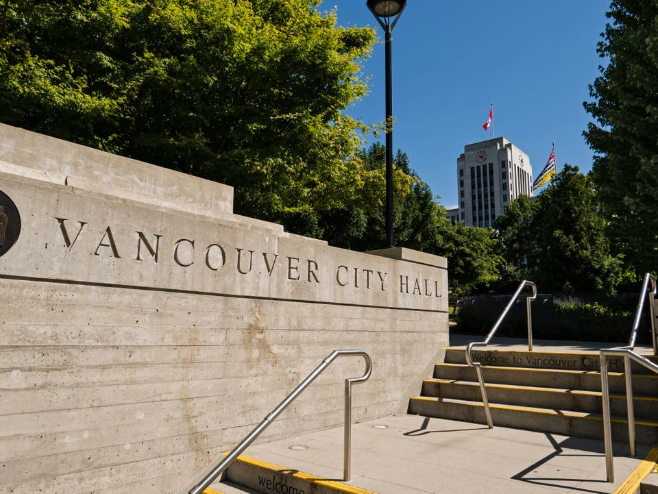 The entrance to Vancouver City Hall on July 4,
