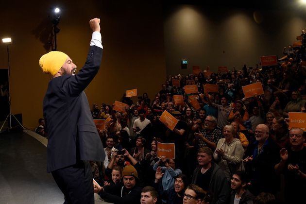NDP Leader Jagmeet Singh attends a rally with supporters in Victoria on